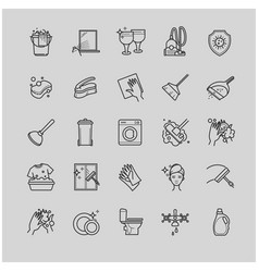 Outline set - cleaning icons vector