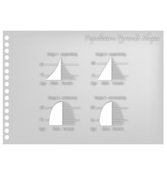 Paper art of four types of population pyramids vector
