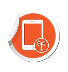 phone communication icon orange sticker vector image