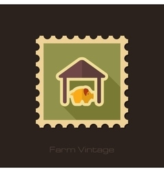 Pigsty retro flat stamp with long shadow vector