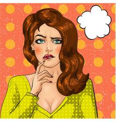 pop art of thinking woman vector image