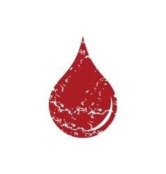 Red grunge drop logo vector image