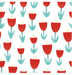 red tulip flowers seamless vector image