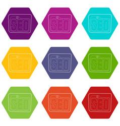 Seo icons set 9 vector