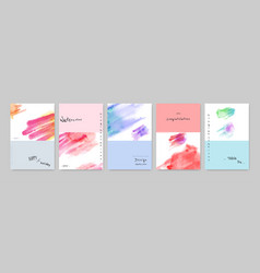 Set hand-painted watercolor card modern design vector