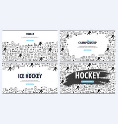 set of hockey backgrounds with doodle elements vector image
