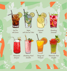 Set of non-alcoholic summer drinks classic and vector