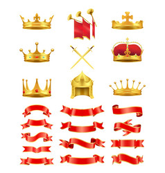 set of ribbons and royal headwears colorful card vector image