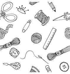 Sewing hand drawn pattern vector image