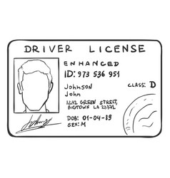 Single sketch drivers licence vector