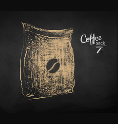 Sketch of closed sack with coffee beans vector