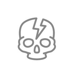 Skull with acute pain line icon broken cranium vector