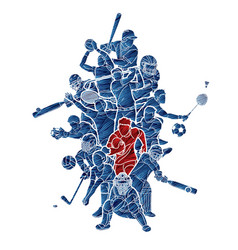 sports mix sport players action cartoon graphic vector image