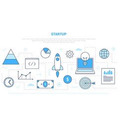 Startup business concept with various icon line vector
