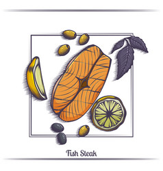 steak fish with lemon and olives vector image