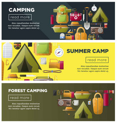 Summer camping and forest camp banners vector