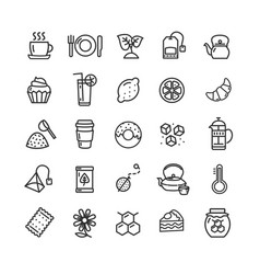 tea ceremony black thin line icon set vector image
