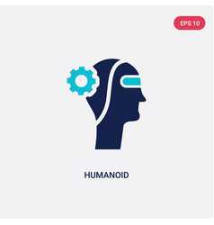 Two color humanoid icon from artificial vector