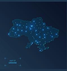 Ukraine map with cities luminous dots - neon vector