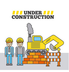 under construction people worker bulldozer barrier vector image