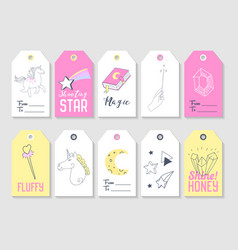 Unicorn kids tags collection for family party vector