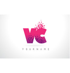 Vc v c letter logo with pink purple color and vector