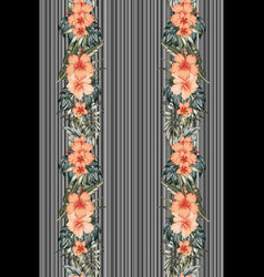 vertical poster flowers leaves striped background vector image