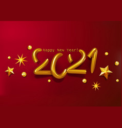volumetric gold text happy new year 2021with vector image