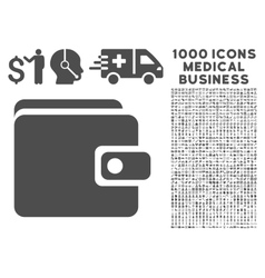 Wallet Icon with 1000 Medical Business Symbols vector image