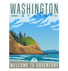 washington travel poster vector image