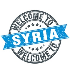 Welcome to Syria blue round vintage stamp vector