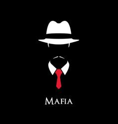 White silhouette of an italian mafia vector