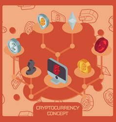 cryptocurrency color isometric concept vector image vector image