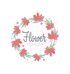 flower shop green and red colorful logo template vector image