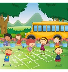 Hopscotch in park vector image vector image