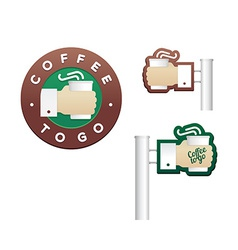 Set of logos and signs cup in hand for coffee to vector image vector image