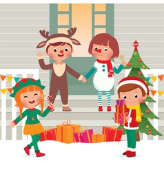 Children on the doorstep in Christmas Costumes vector image vector image