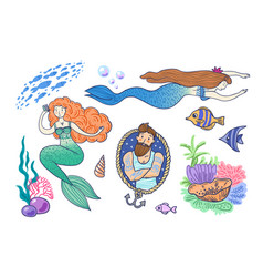 hand drawn mermaid vector image