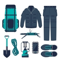 Hiking set vector image vector image