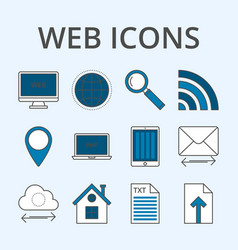 a set linear icons vector image