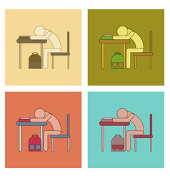assembly flat icons student sleeping at the desk vector image vector image