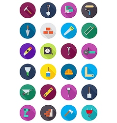 Color round construction icons set vector image