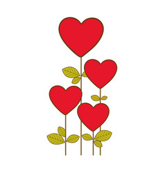 red heart balloons trees icon vector image vector image