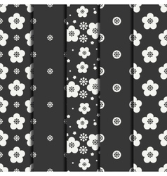 Set of monochrome abstract seamless floral pattern vector image vector image