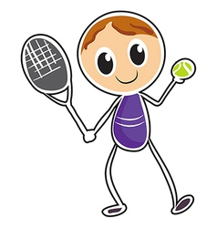 A sketch of a boy playing tennis vector image
