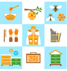 beekeeping honey flat icons set vector image vector image