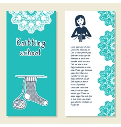 Cards template for knitting school knit vector image vector image