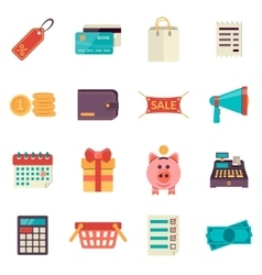 Set of flat shopping icons sale icons vector image