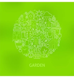 Thin Line Green Gardening and Flowers Icons Set vector image vector image