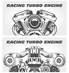 Turbocharging racing engine and motorcycle motor vector